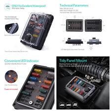 Car 10-Way 250 Amp ATC ATO Blade Fuse Box Block LED Waterproof Protection Cover