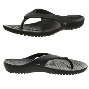 Crocs Kadee II Black Flip Flops- Women's Size 7 Thong Pool Beach Sandals -Unisex