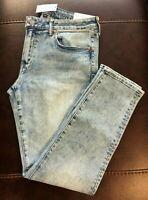NWT American Eagle Men's FLEX Light Acid Wash Skinny Jeans 34 x 32 (4704)
