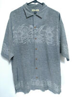 Tommy Bahama Silk Mens Medium Fits Like Large Gray Floral Hawaiian Camp Shirt