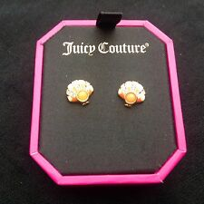 NIB Juicy Couture New Gen.Gold Plated Orange & Diamanté Stud Earrings (Pierced)