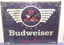 BUDWEISER LAGER BEER, METAL SIGN FACTORY ANTIQUED (APO & FPO BUYER OK) ADULT