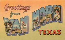 VAN HORN TX Texas Greetings Multi-view Vintage Linen Postcard ca 1930s