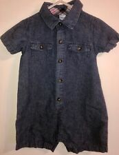 Carter's Baby Boy Collared Short Sleeve Shorts Romper Blue Chambray 24 months