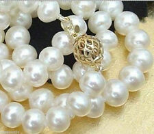 7-8 MM White Akoya Cultured Pearl Necklace 18'' AAA
