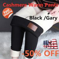Women Winter Tight Warm Thick Cashmere Pants High Waist Pants Warm Pants US