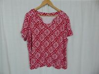Kim Rogers Women's Printed Short Sleeve Tee Shirt 100% Cotton Red White Size 2X