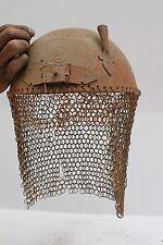 Old Iron Vintage Indo Persian Islamic engrave Helmet Kulah-Khud sheild NH1172