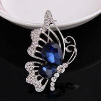 New Fashion Women Cute Butterfly Blue Crystal Rhinestone Brooch Pin Girls Gifts