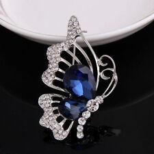 Hot Jewelry Fashion Women Cute Butterfly Blue Cyrstal Rhinestone Brooches