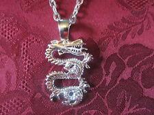 Silver Plated Diamond Cut Sand Blasted Dragon Charm Fashion Necklace