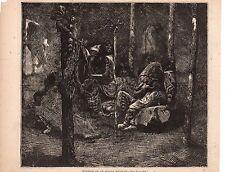 1873 Harper's Weekly Native American Print - Interior of an Indian Wigwam