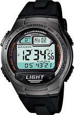 Casio 60 Lap Memory World Time Pace 5 Alarms Watch 10 Year Battery W-734-1AV New