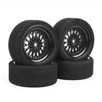 4Pcs 1/10 RC Racing Foam Tires &Wheel Rims 12mm Hex For Nitro Sedan On-road Car