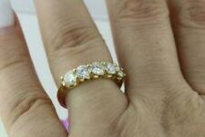Round Cut Moissanite Five Stone Wedding Band Ring Solid 14k Yellow Gold 16