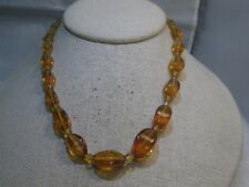 Vintage Honey Graduated beaded necklace, 1930's-1940's, 16""