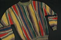Vintage 90s Rainbow 3D Abstract Crewneck Knit Sweater Cosby Biggie Mens S M
