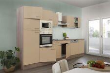Einbauküche Küche Küchenzeile Küchenblock 340 cm Eiche York Beige glanz respekta