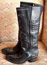 GOLDEN GOOSE CELEBS WEAR Black Leather Boots Brass Details Sz. 37/7M) $1298