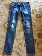 Miss Me Signature Rise Skinny Jeans Sz 26x32 Distressed Bling Cute Sexy Look