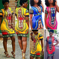 Women Traditional African Print Dashiki Dress Bodycon Short Sleeve Party Shirt