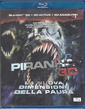 Blu-ray 2D + 3D active + 3D anaglyph + 4 occhiali **PIRANHA** nuovo 2011