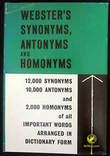 Webster's Synonyms, Antonyms And Homonyms :: 1963
