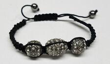 SHAMBALLA BRAIDED BEADED ROPE BRACELET Black & Silver -Crystal Rhinestone ->NEW<