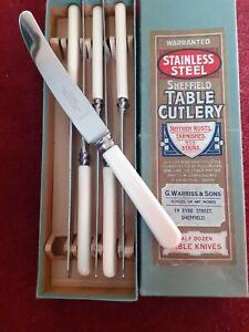 Set 6 vintage Bone Handled butter tea fruit knives Stainess Steel Sheffield 8 IN