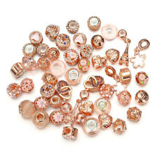 10pc Mixed Gold Crystal Glass Beads, Crystal Alloy BEADS Fit Charm Bracelet