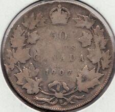 1907 - Canadian 50 cent - Silver Half Dollar- Edward VII - Superfleas