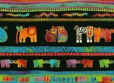 Mythical Jungle Animal Stripe Y2135-3M Black w/Metallic by Laurel Burch BTY