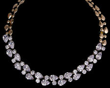 14k Rose Gold GF Necklace made w/ Authentic Swarovski Crystal Clear Stone Bridal