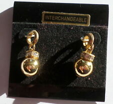 2 Interchangeable Round Drop Swarovski Ball Pendants Charms Earrings Crafts New1