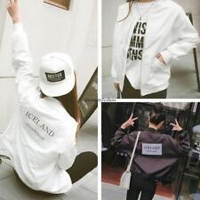 Korean Womens Casual Loose Solid Baseball Jacket Windbreaker Short Coat White L