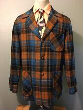 Vtg 50s 60s Pendleton Wool Plaid Blazer Jacket Mens M Sport Coat Blue Black Usa
