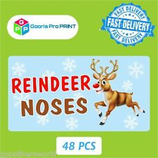 48x Christmas Reindeer Noses Sticker Label Business Xmas Fun Gift Seal Tag  X33