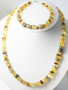Amber Necklace and Bracelet set with Labradorite / Mexican Amber / Artisan Charm