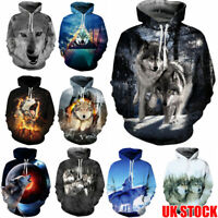 NEW Mens 3D Print Wolf Pullover Hoodie Christmas Hooded Sweatshirt Xmas Tops UK