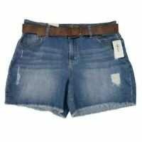 NEW Style&co. Womens Jean Shorts Blue Distressed Medium Wash Mid Rise Belted 12