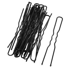 Pasador de pelo de mujer de metal Clips de diente unico formado U 20pzs Negro K9