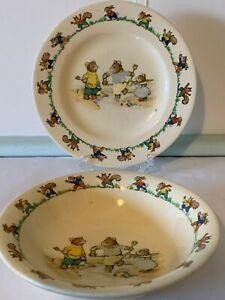 Jolly Jinks Ridgway England Vintage Baby Nursery Rhyme Bowl and Plate Bears