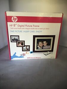 New -HP 8 inch Digital Picture Solid Wood Frame with 4 Double Mats DF820B4
