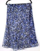 Cato Women's Floral Print Lined Tie Side Wrap Skirt Royal Blue Size Large