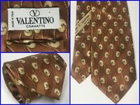 "Valentino Bronze Thick Textured Striped & Sphere Print Luxury Tie 58"" ITALY"