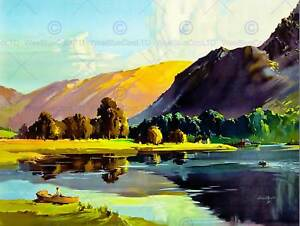 PAINTING LAKE DISTRICT CUMBRIA ENGLAND SCENIC VALLEY UK ART PRINT POSTER CC6579