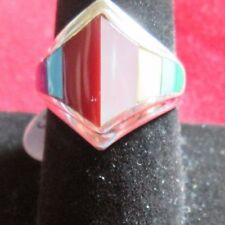 VINTAGE STERLING SILVER ZUNI INLAY RING SIZE 6.75