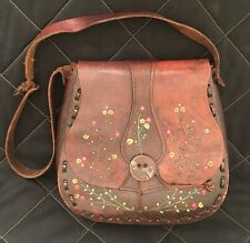 VTG Handmade & Hand Painted Tooled Brown Leather Bag Boho Hippie Bohemian Floral