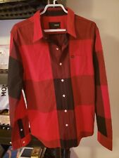 Hurley Casual Shirt Red And Black Check Size Large