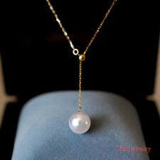 White Pearl Pendant Necklace Women 18k Rose Gold Plated 925 Silver With Gift Box